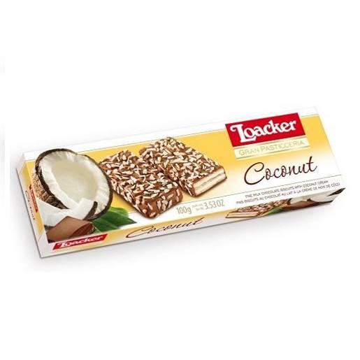 Loacker Cooconut włoskie wafle kokosowe w czekoladzie 100g